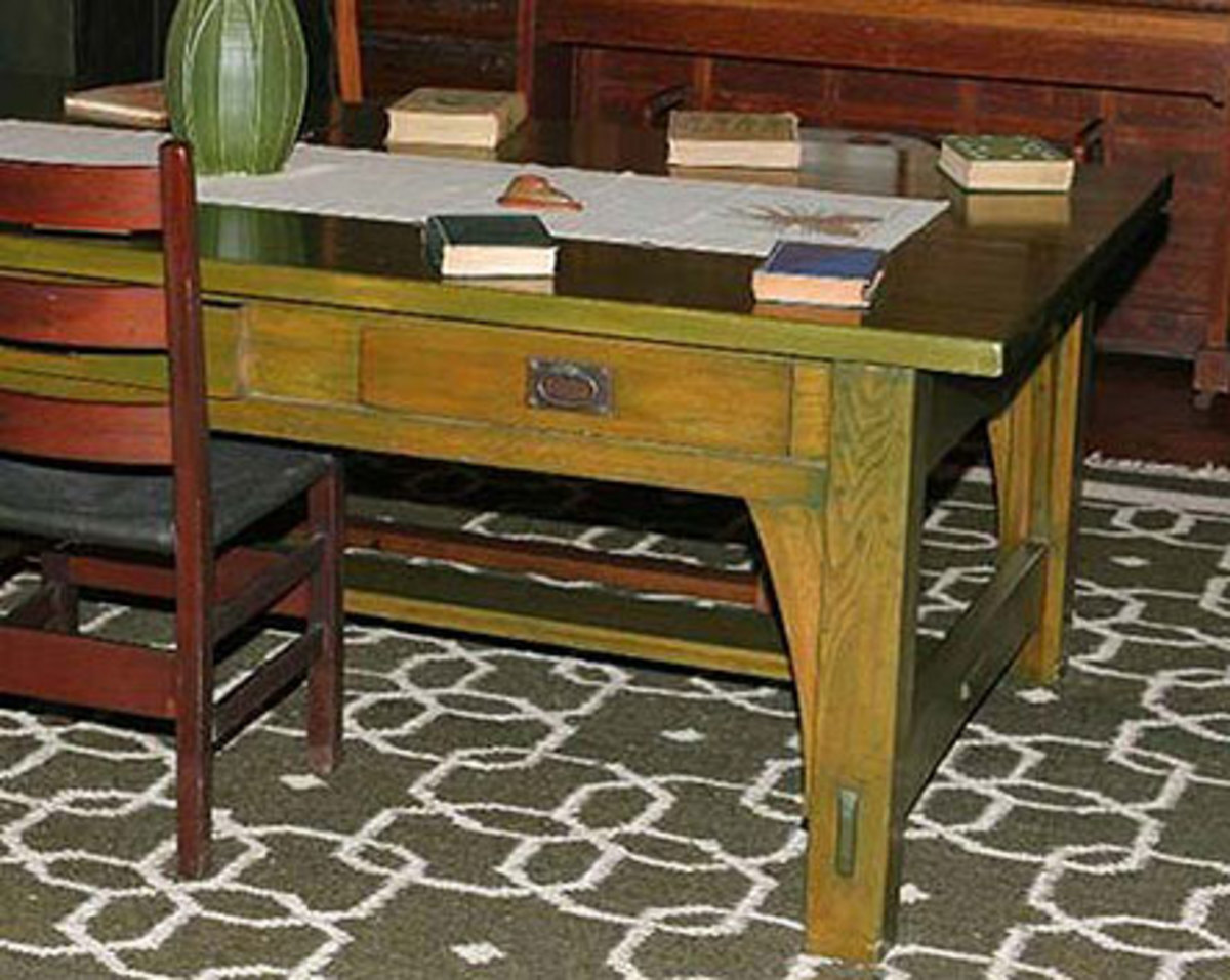 A library table at Stickley's Craftsman Farms, now a museum house, retains its special finish. Photo by Ray Stubblebine.