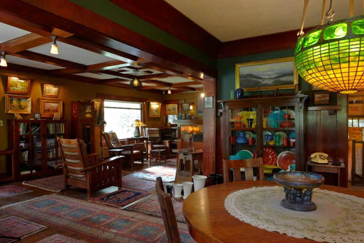 Collections fill a bungalow in pasadena arts crafts - Arts and crafts bungalow interiors ...