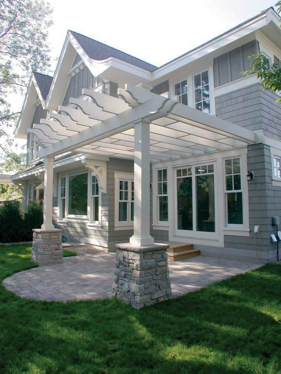 new Traditional white pergola