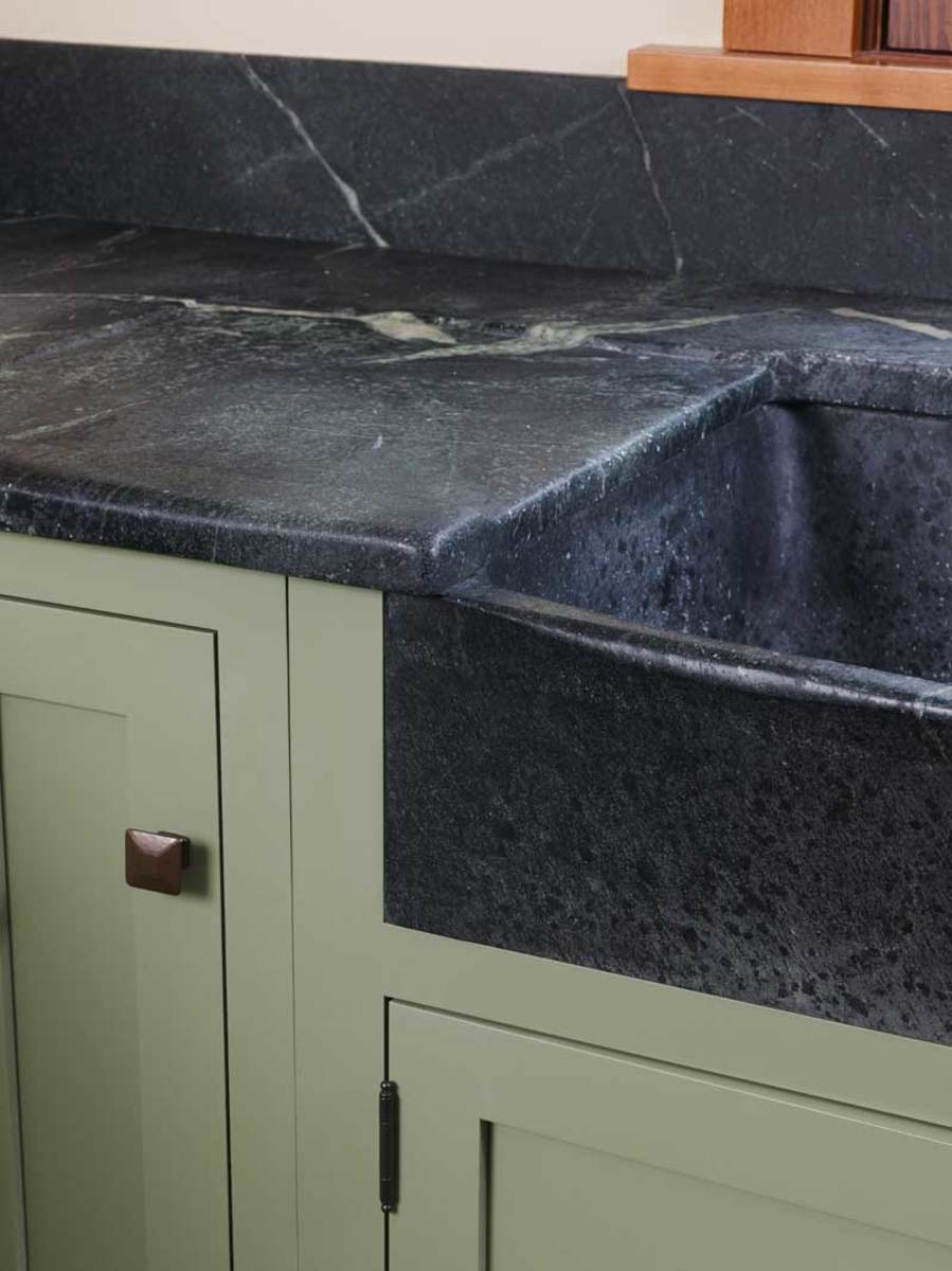 Soapstone isn't just for early American kitchens. Subtle and earthy, it's a natural for Arts & Crafts interiors.