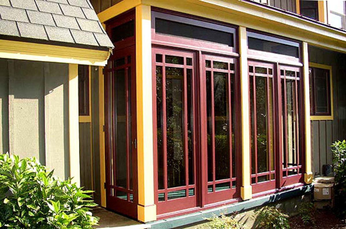 A three-season, Prairie style porch from Touchstone Woodworks