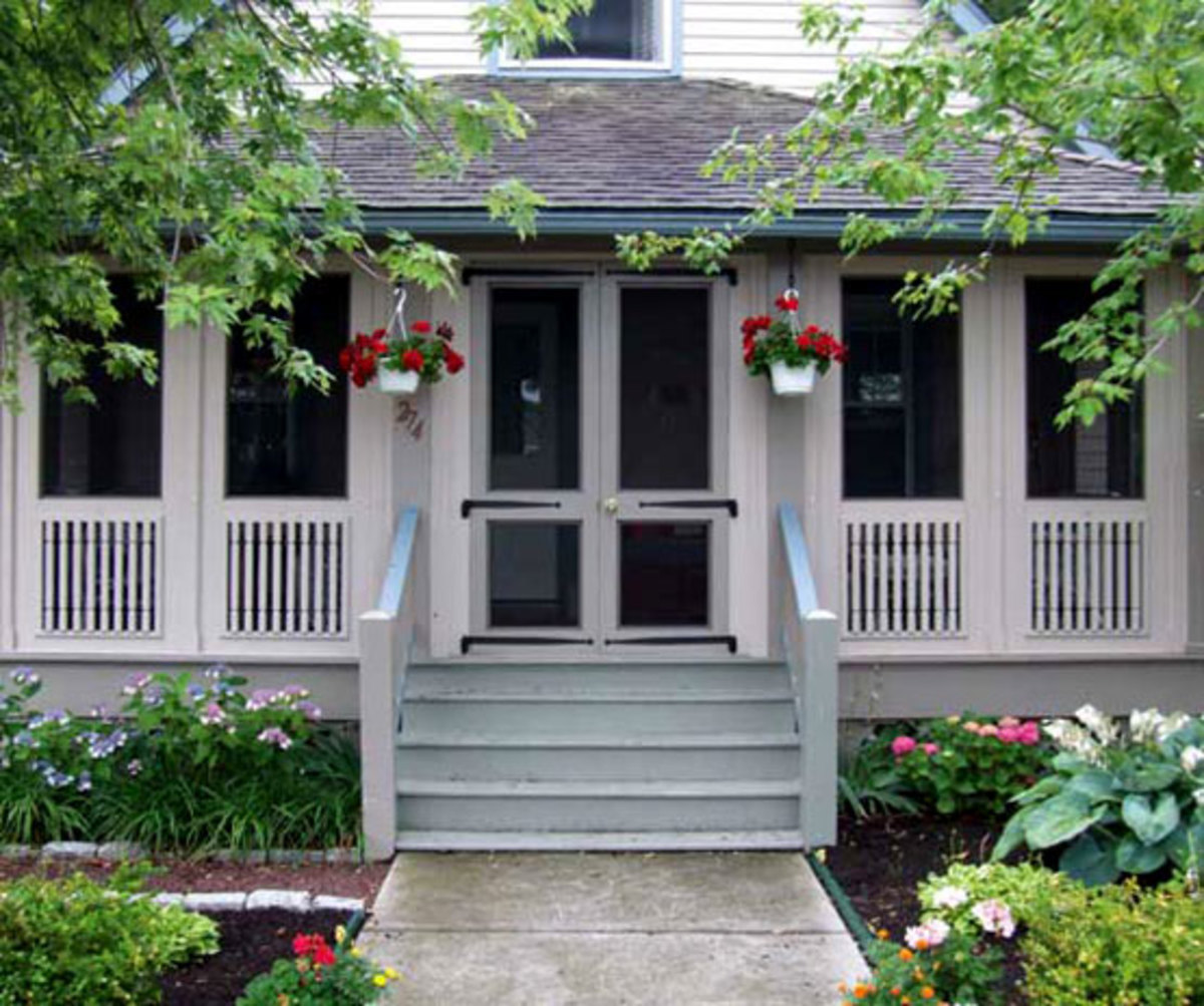 old-fashioned screened front porch