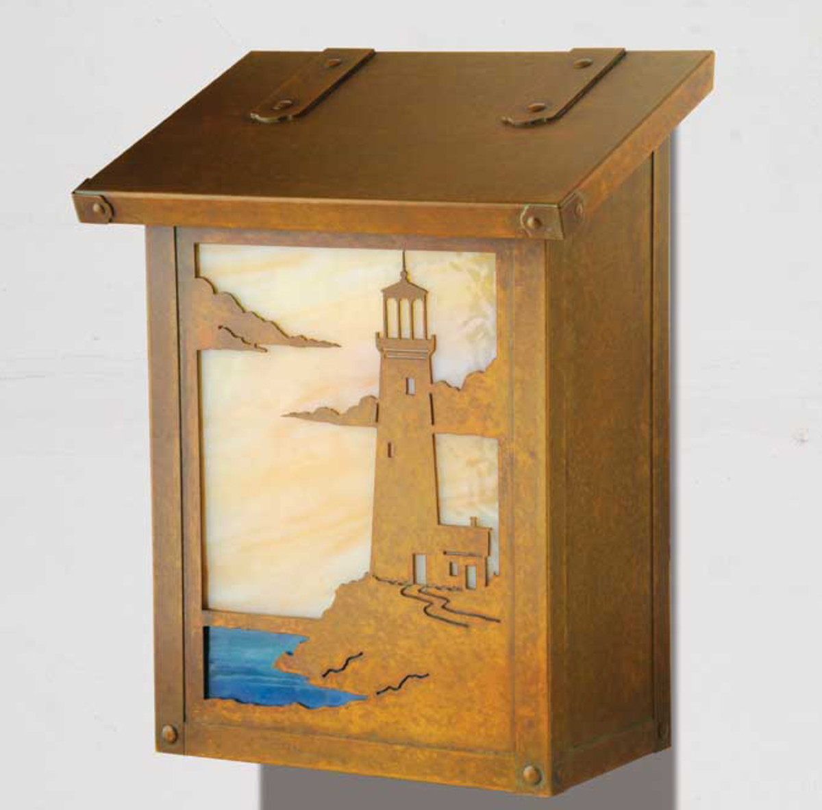 Part of the Coastal Cottage series, the Lighthouse design from America's Finest Mailbox can be backlit with LEDs.