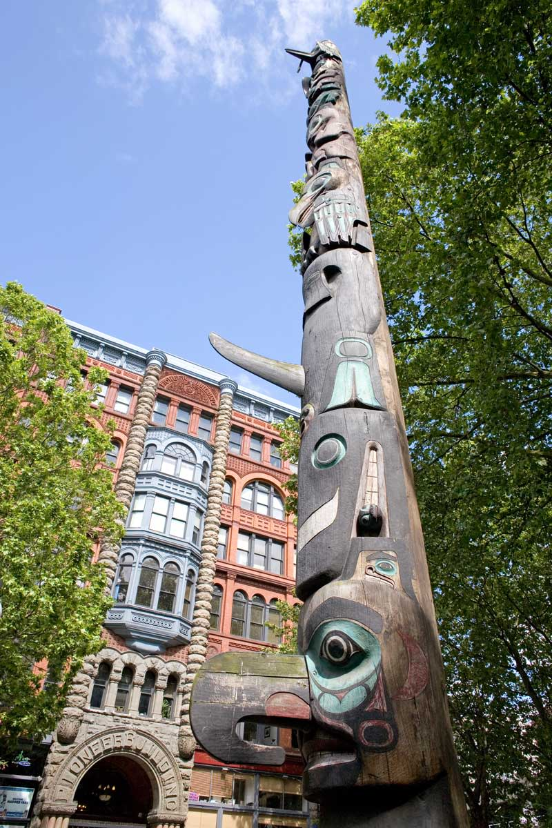 Pioneer Square, on the southern edge of downtown Seattle, offers glimpses of the city's history with ornate street lamps and massive totem poles. Photo: Howard Frisk/Visit Seattle