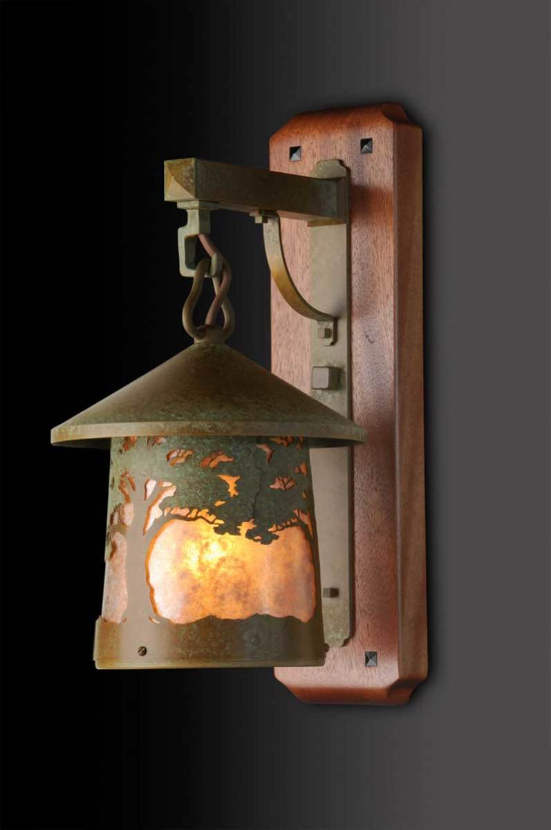 Many Old California Lantern designs make use of filigree overlays, like the recently released 'California Oak' sconce.