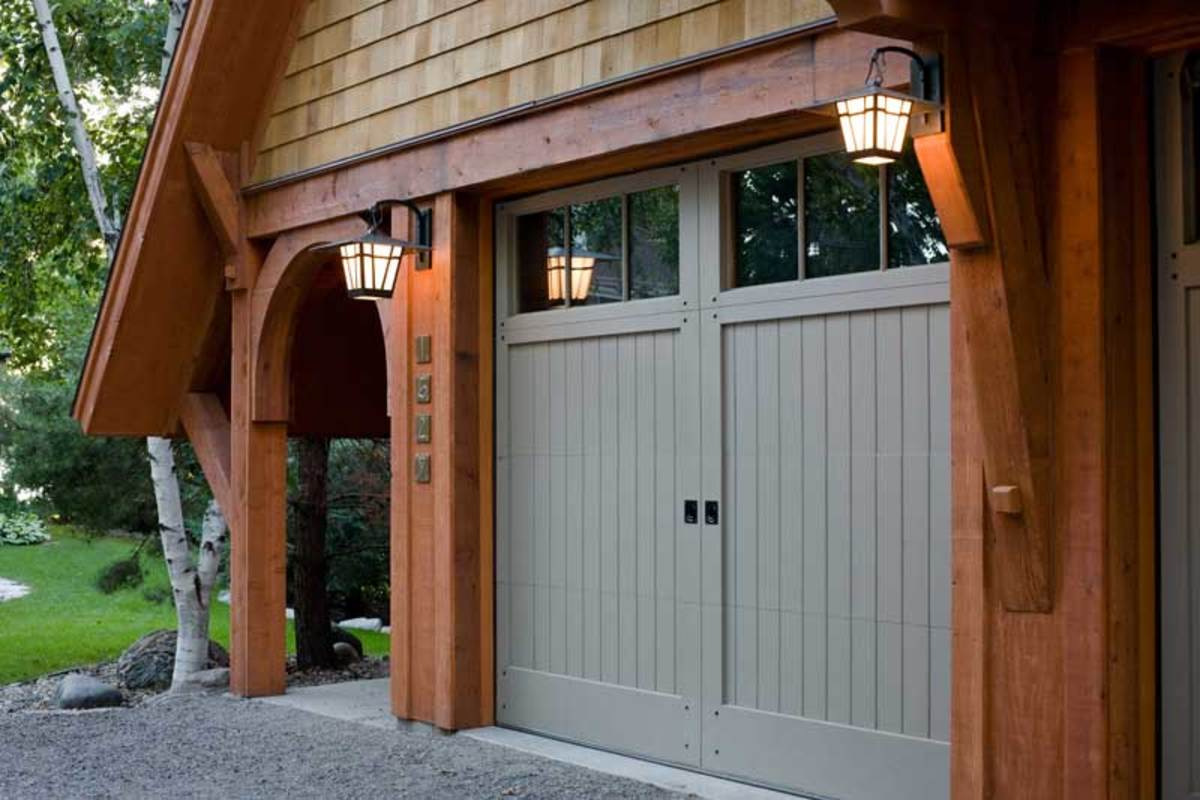 custom-made, inset-panel carriage-house door
