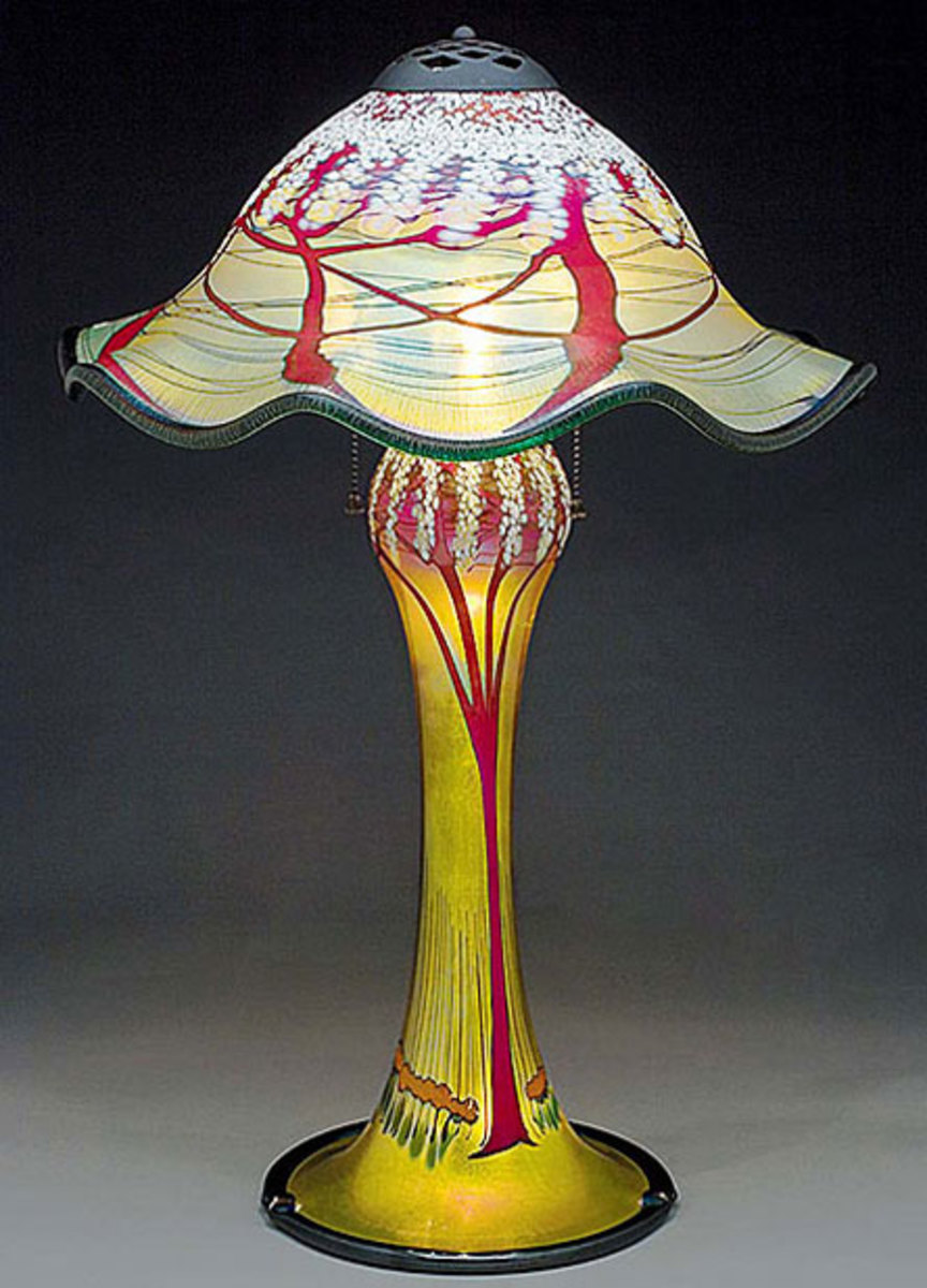 Luster or iridescent glass from Carl Radke, Phoenix Art Glass.