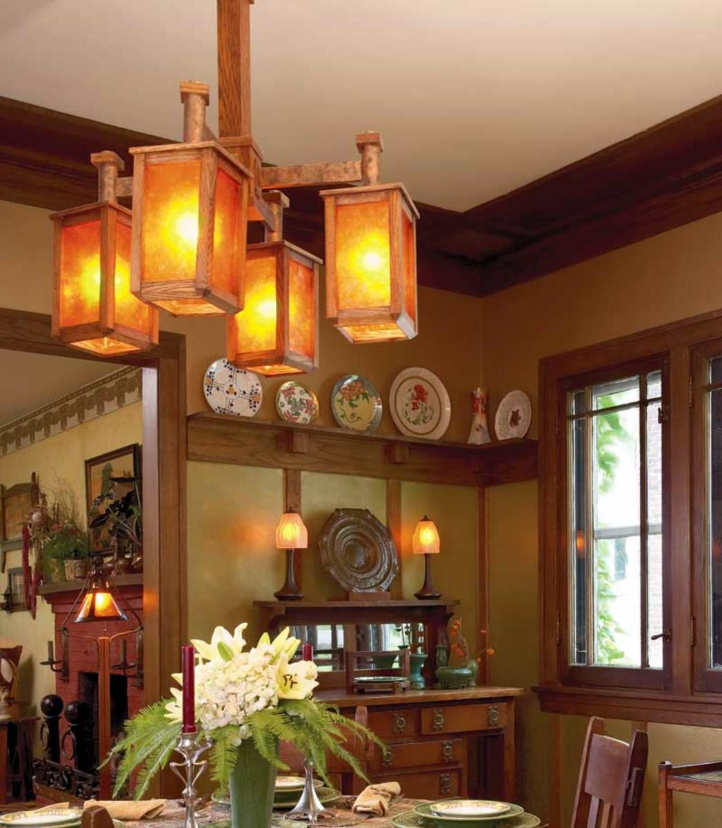 chandelier was handcrafted by Gustav Stickley's grandson