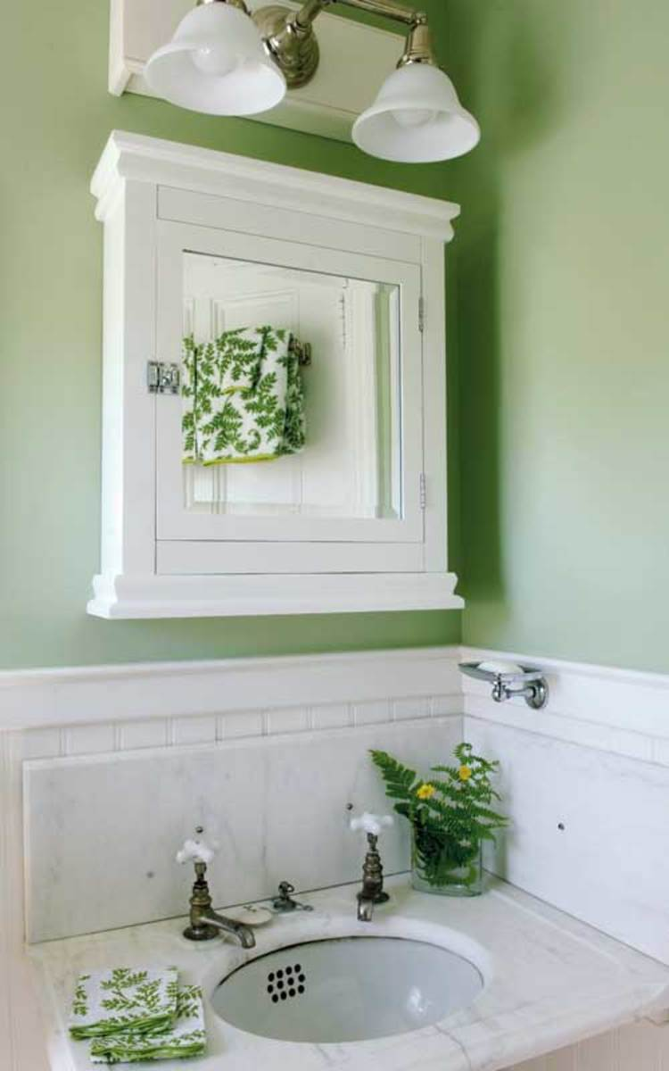 Modest bathrooms arts crafts homes and the revival for Green ground farrow and ball