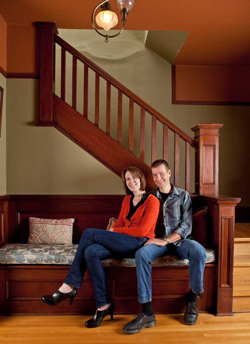 Denise and Drew in their restored banquette.