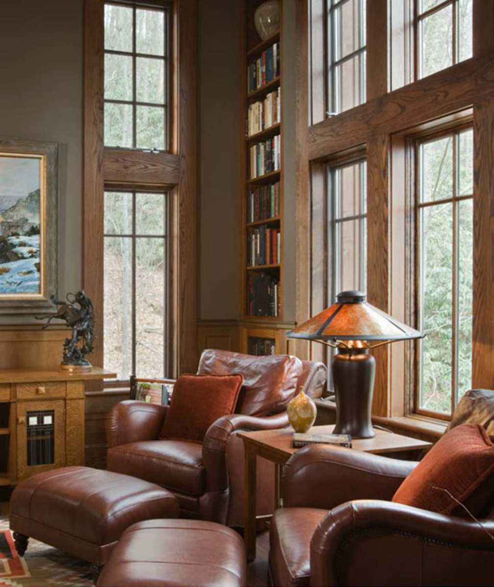 A cozy library corner furnished with classic American Arts & Crafts pieces.