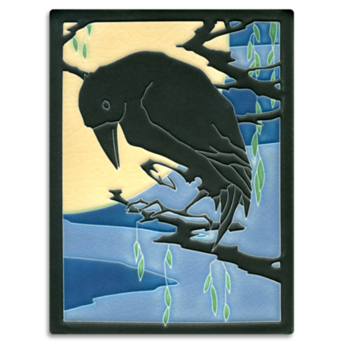 "Large 6"" x 8"" 'Raven' tile in Midnight designed by Yoshiko Yamamoto, from Motawi Tileworks."
