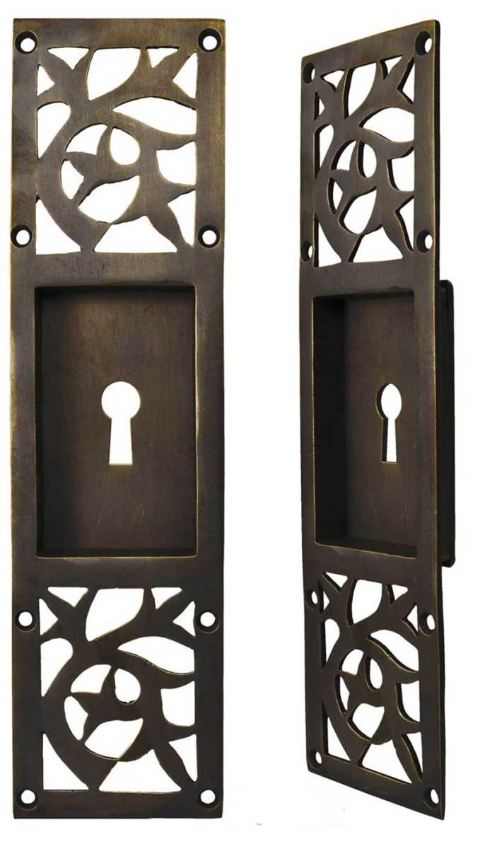 Lost-wax cast brass Arts & Crafts pocket door hardware