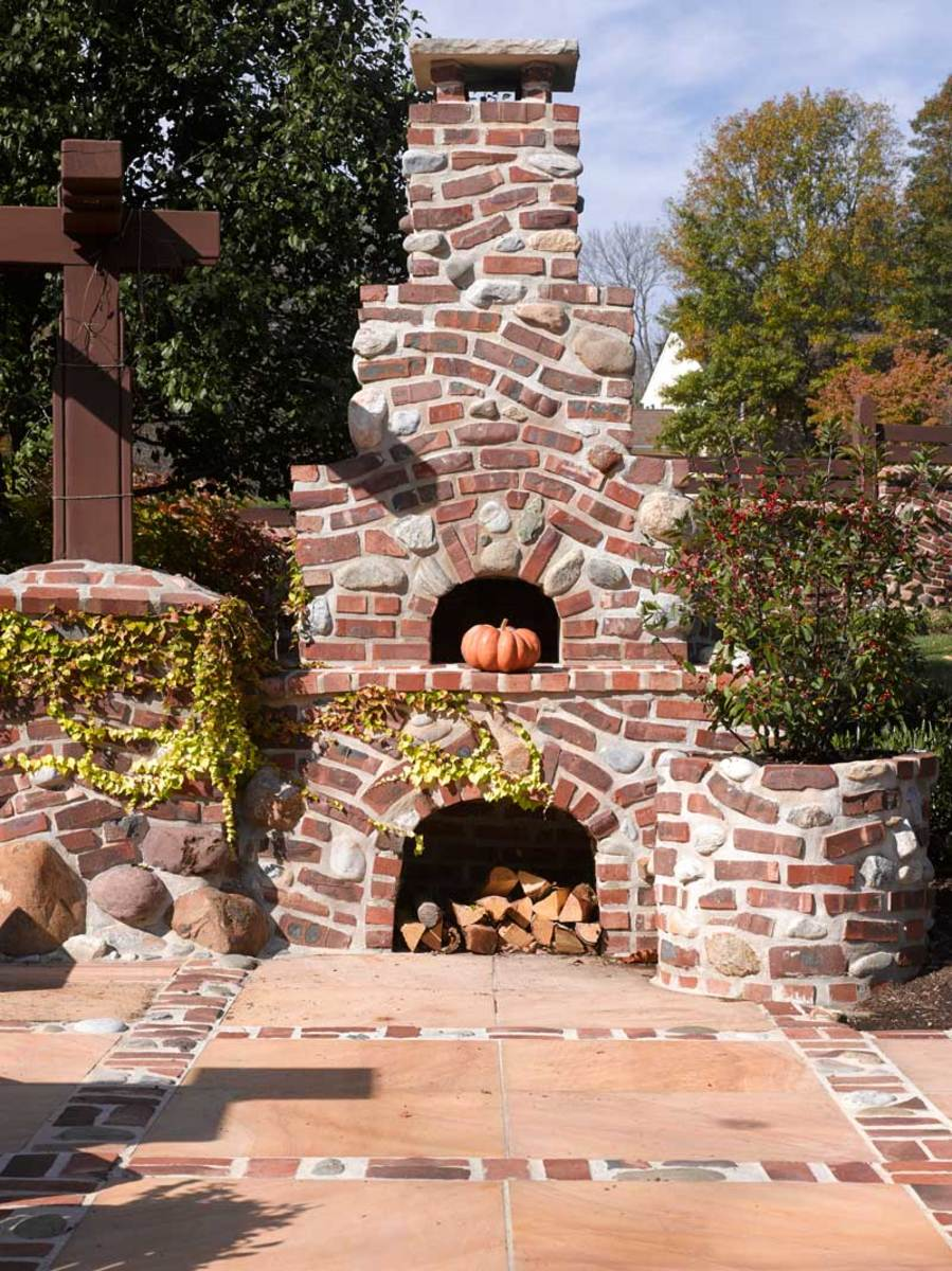 The stepped peanut-brittle chimney looks like it sprang from a fairytale.