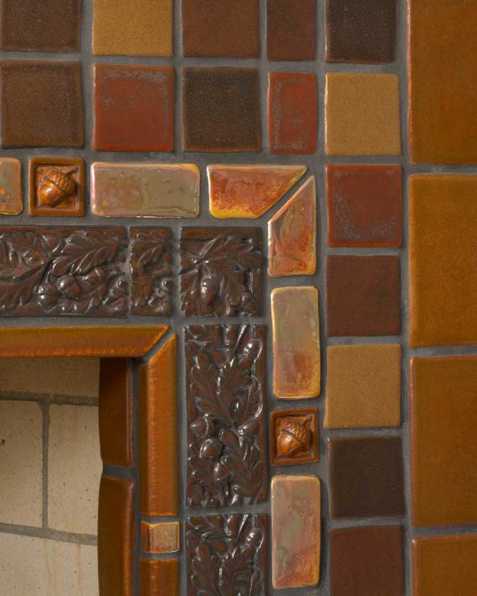 Fireplace tile surround installation by Pewabic, Arts & Crafts hearth