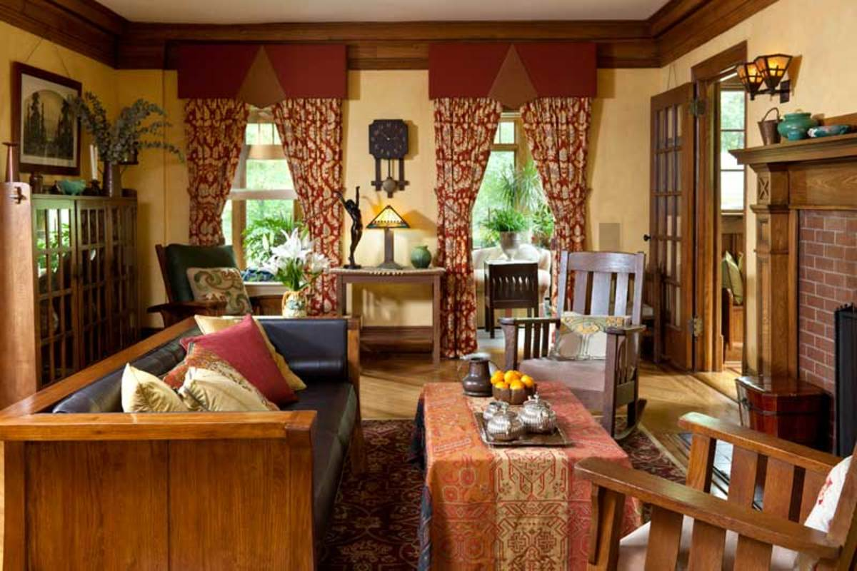 Most of the chairs are antiques, but the Asian-influenced Prairie-style sofa is a contemporary design.  All photos by Steve Gross and Susan Daley.
