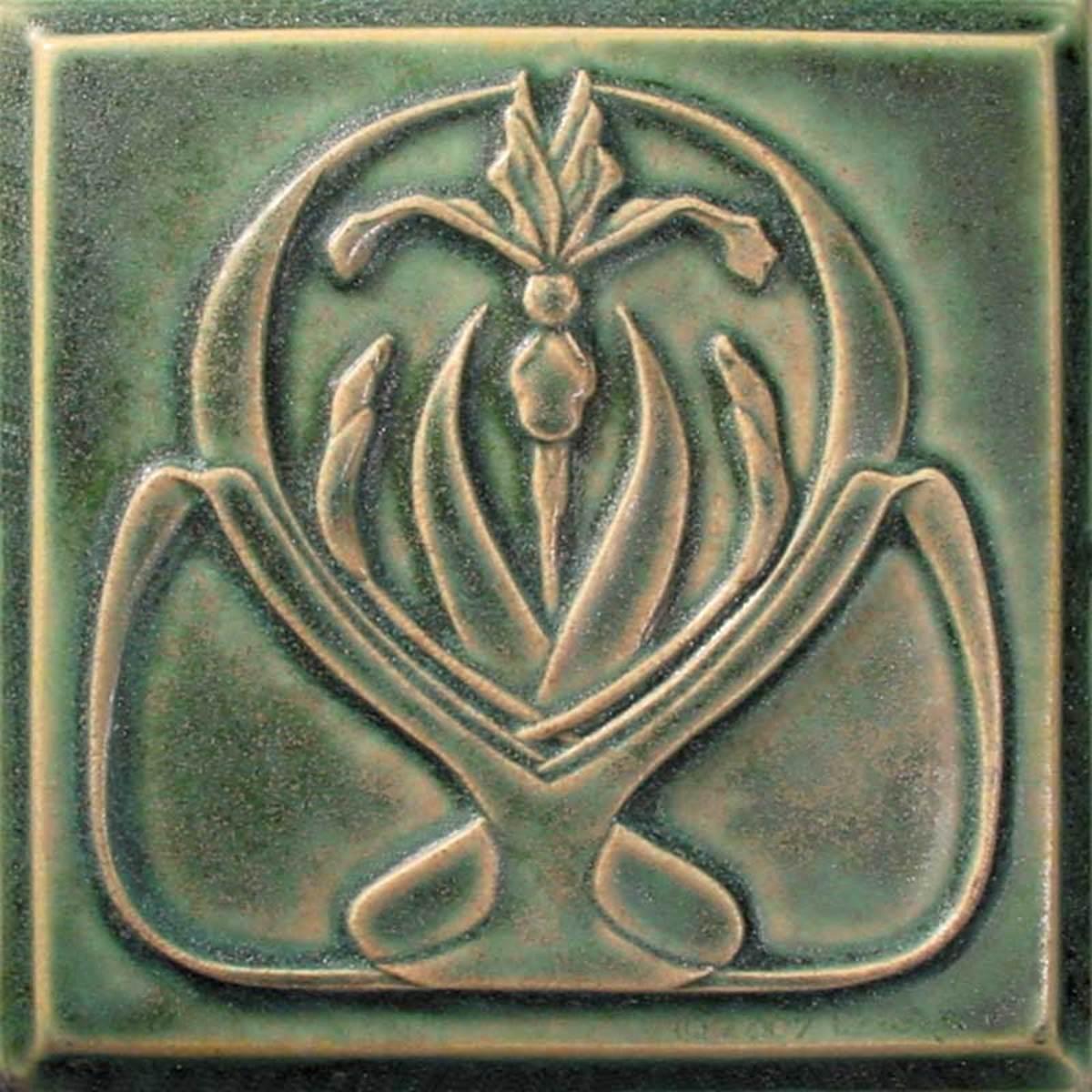 Art Nouveau 'Wild Iris' porcelain tile