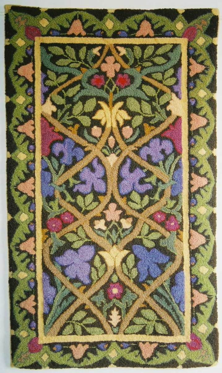 'Morris Iris' hooked rug with stylized flowers, from a William Morris Hammersmith rug, Mill River Rugs.