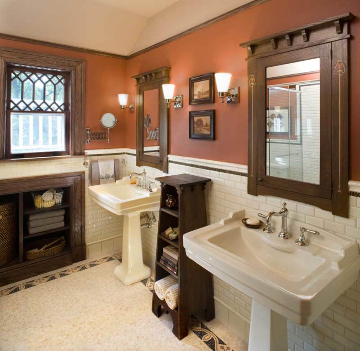 While oak trim and off-white subway tile are standard in many Arts ...