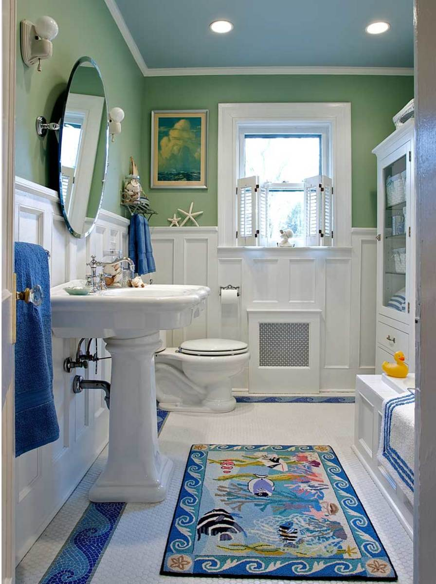 sanitary white cottage style bathroom
