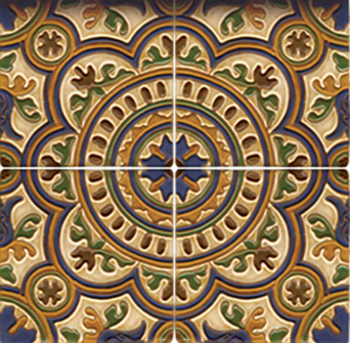 Geometric and floral Hispano–Moresque tiles from Native Tile & Ceramics.