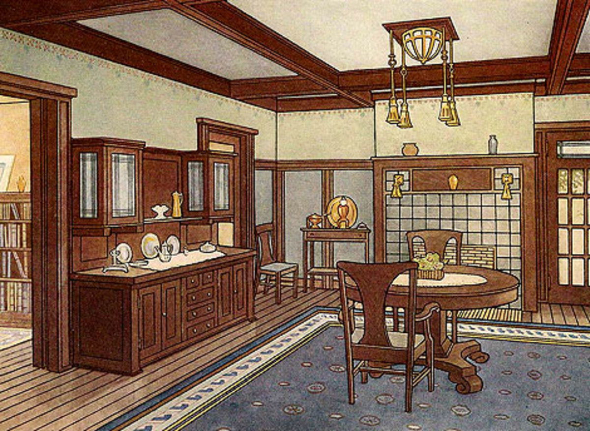 Arts and Crafts dining room illustration
