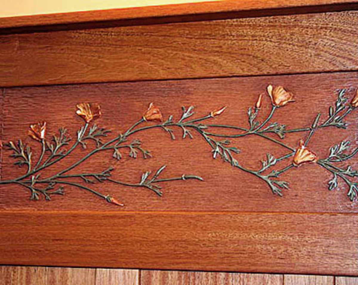 California poppies plaster frieze by Debey Zito