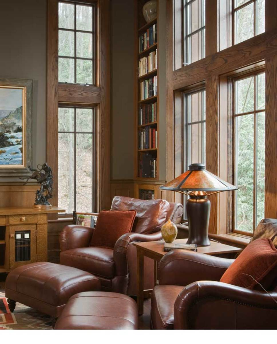 Library corner in a contemporary house designed by architect Shawn Leatherwood: part Craftsman, part rustic, part North Carolina vernacular. Photo by Roger Wade