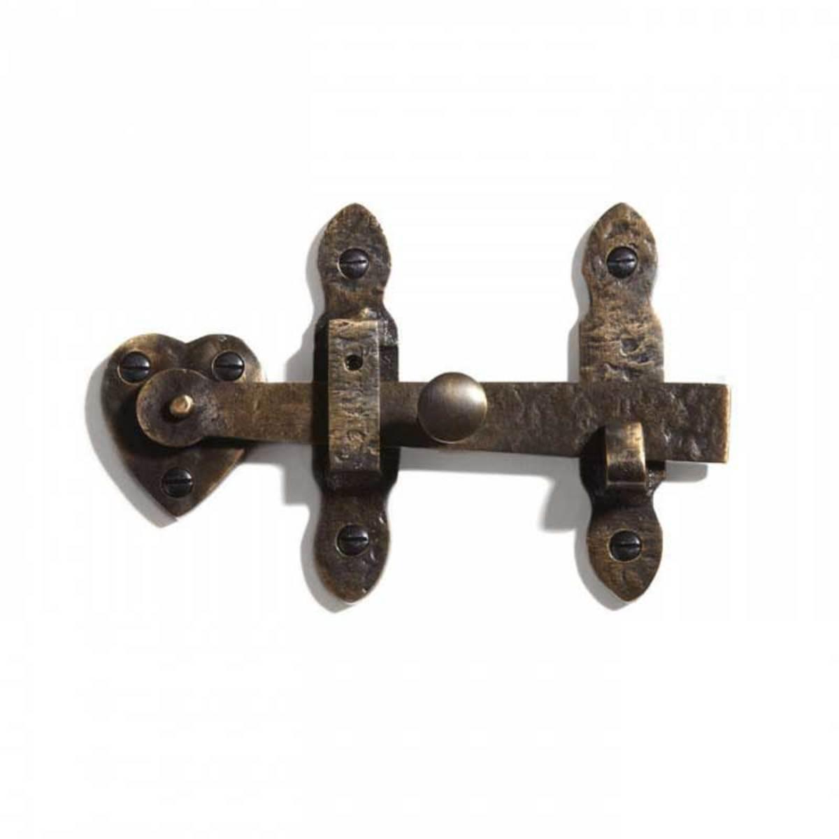 solid brass gate rim latch with heart motif