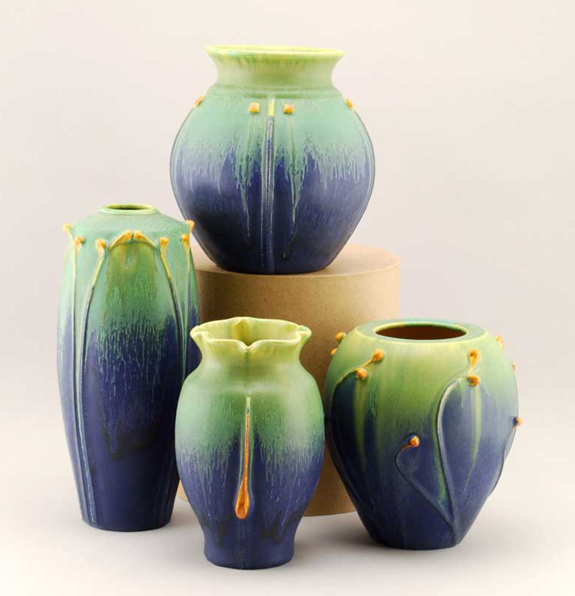Hand-thrown vases by Door Pottery