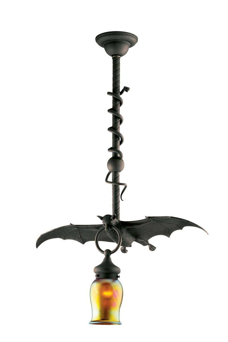 This iron pendant fixture has been reproduced by Rejuvenation.