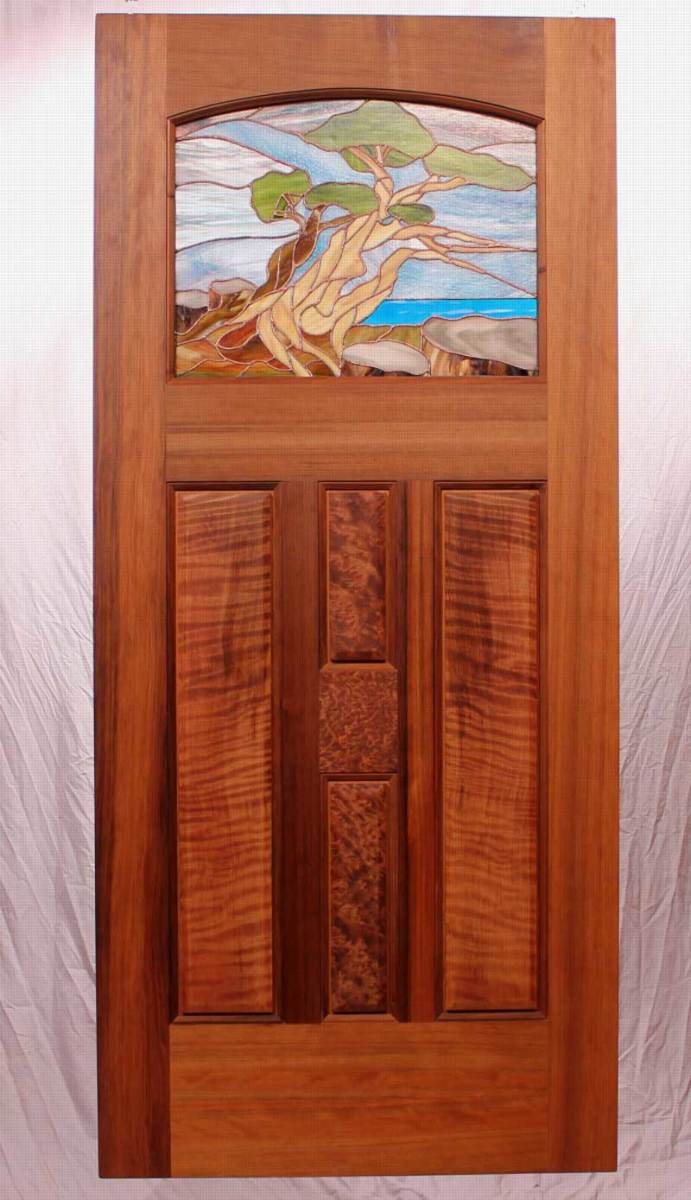 Art glass and redwood burl, arts & crafts revival-style