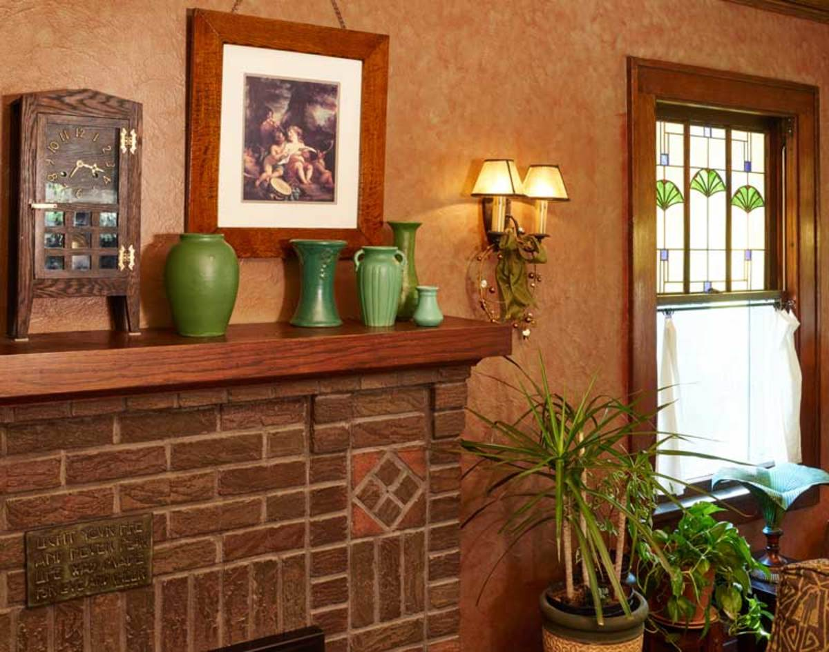 The living-room fireplace is original.