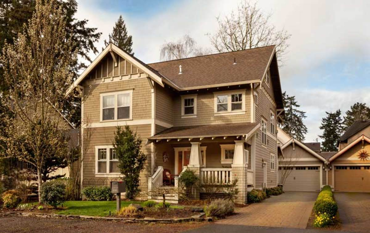 Familiar Arts & Crafts revival motifs found in The Multnomah by Skye Homes include handsome gables, shingles over clapboards, and a cozy porch with battered columns.