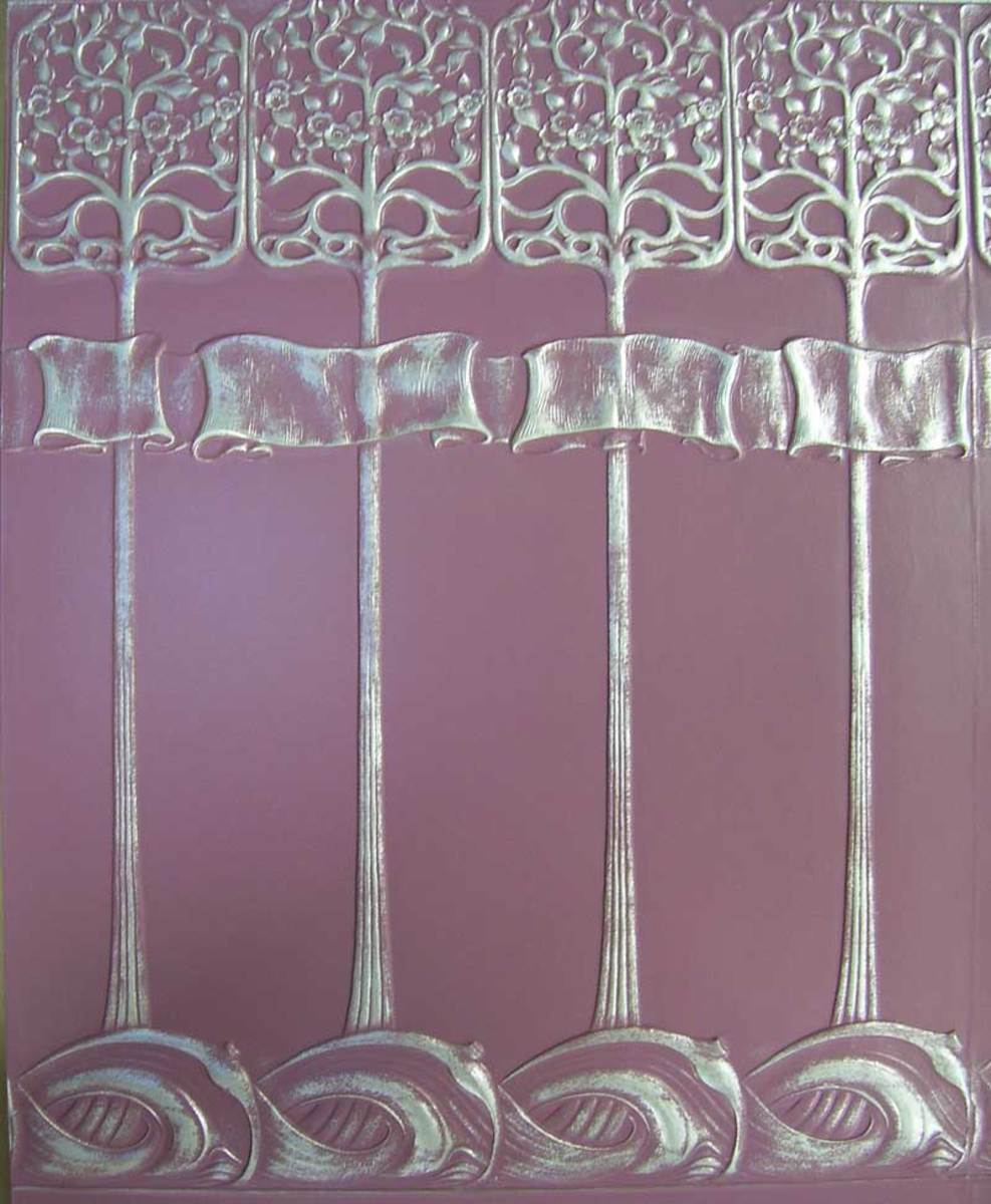 Lincrusta in an Art Nouveau pattern, with a coat of silver metallic paint over a base color.