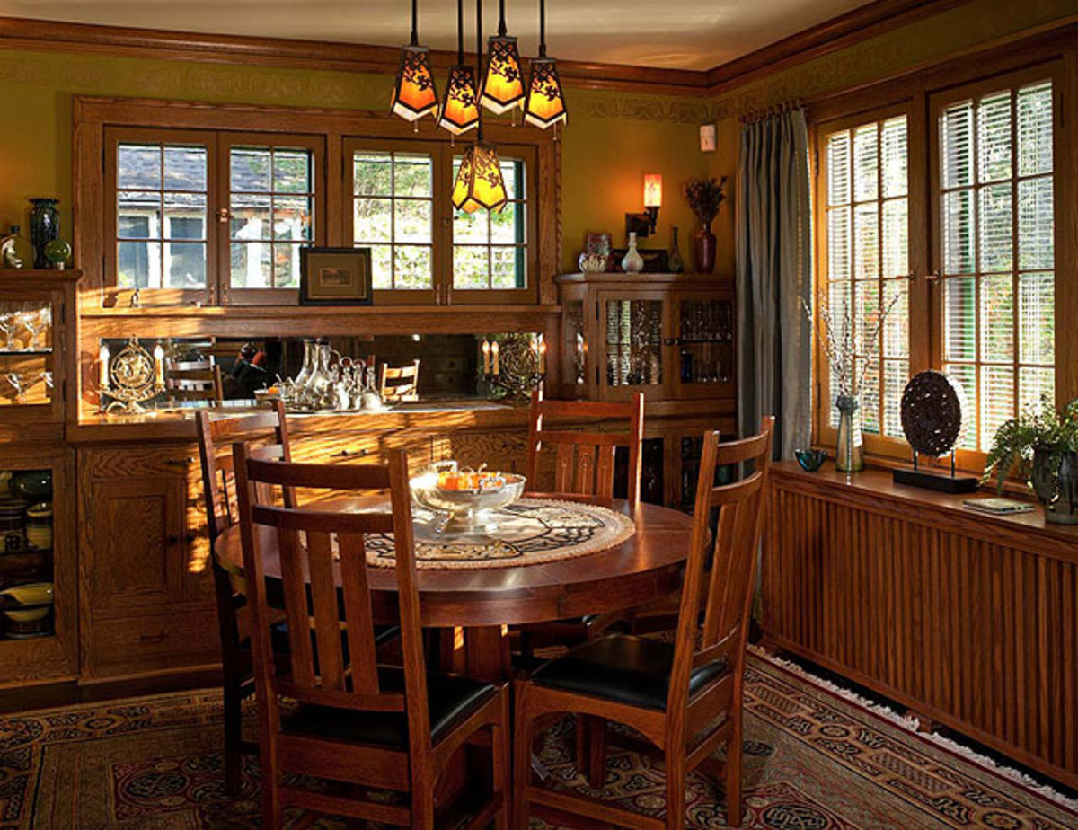 Built In Sideboard And Stickley Furniture A Later Midwestern Bungalow With Prairie Leanings