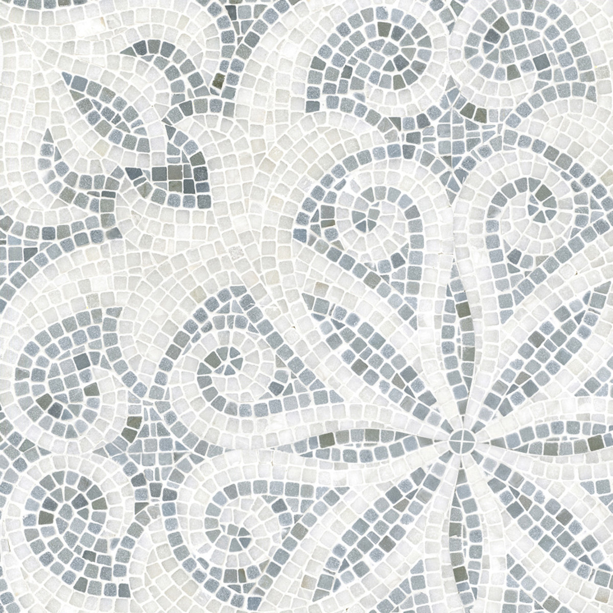 A hand- and waterjet-cut natural stone mosaic floor from New Ravenna recalls mosaic patterns hand-laid by the Romans.