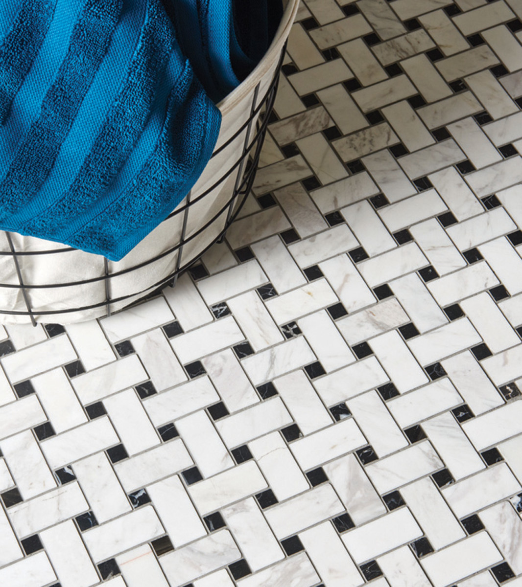 black and white basketweave tile