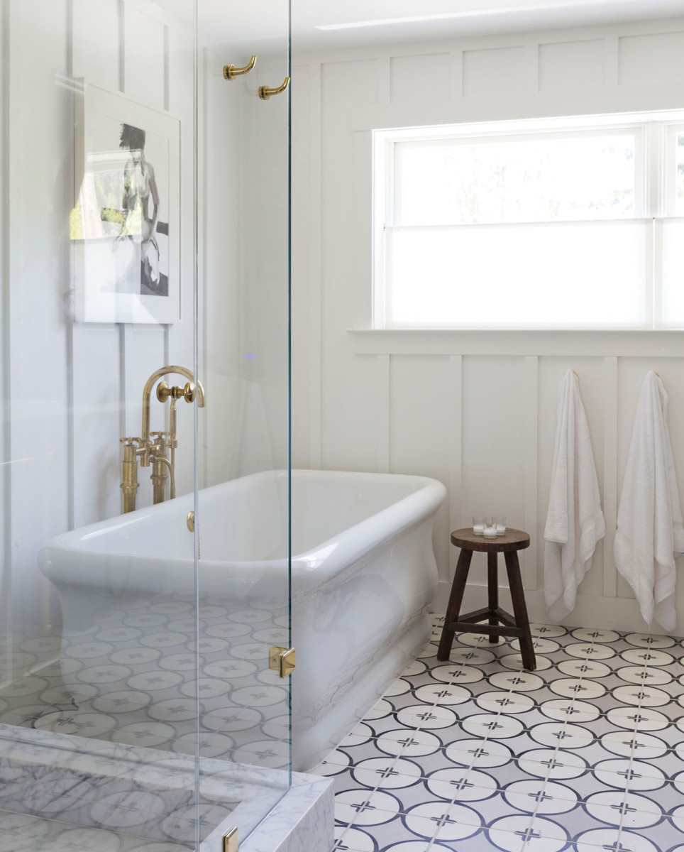 "Clé Tile's 'Peabody,' an 8"" square cement tile that creates an interlocking pattern, is a modern take on encaustic tiles, where the pattern goes through the entire tile from the surface down."