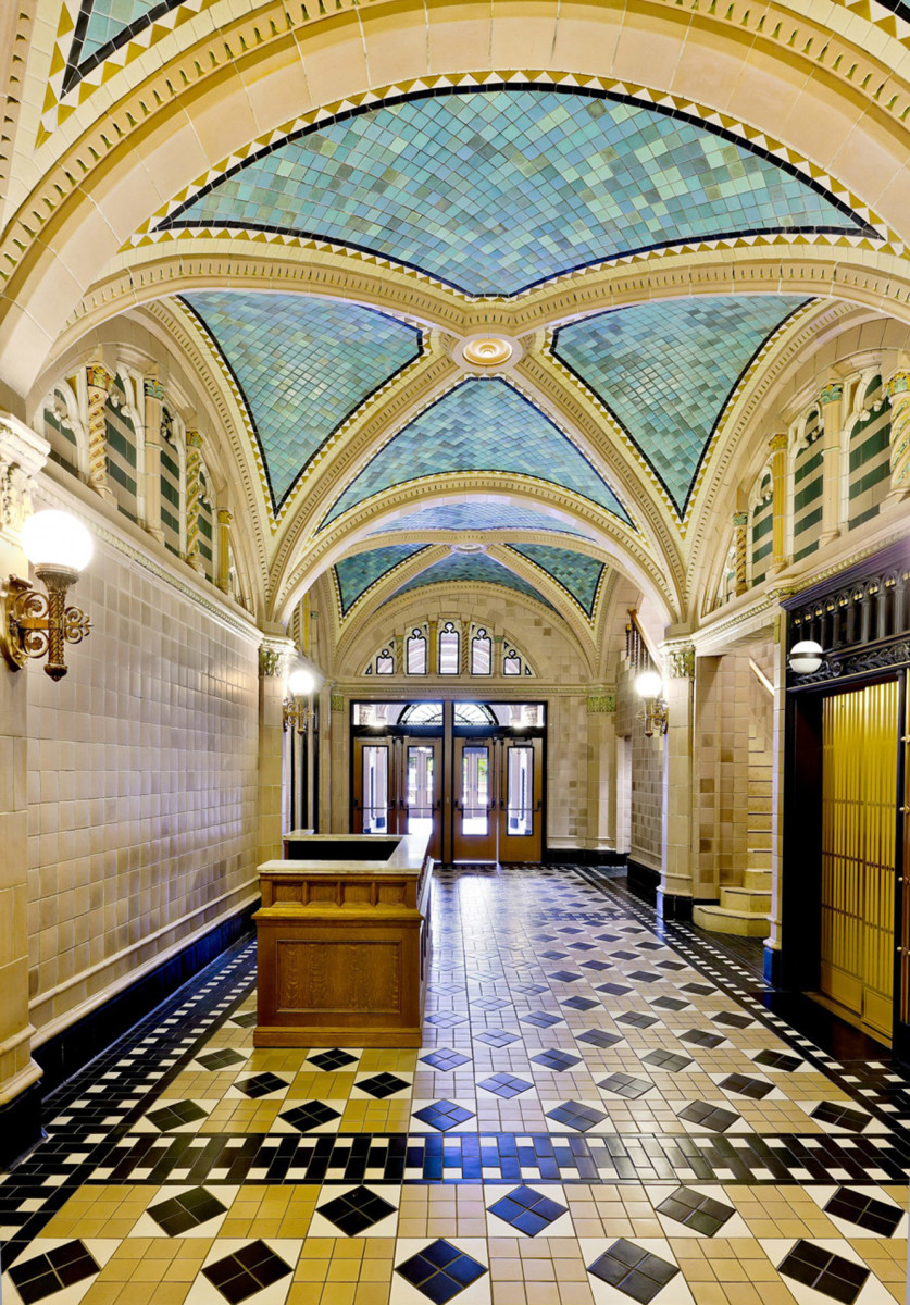 The lobby of Chicago's Monroe Building was designed and installed by Rookwood in 1912.