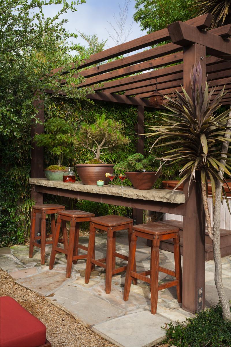 backyard bar and hot tub