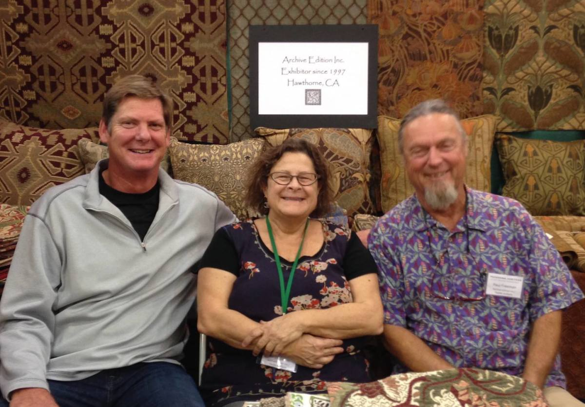 Long-time officer manager Nancy Eaton is flanked on the left by Karl Eulberg, with Paul Freeman on the right, at the 2017 Arts & Crafts Show.