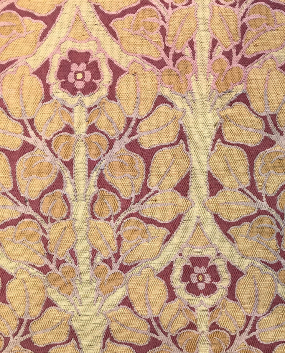 A vintage jacquard-woven fabric from about 1900, soon to be in production.