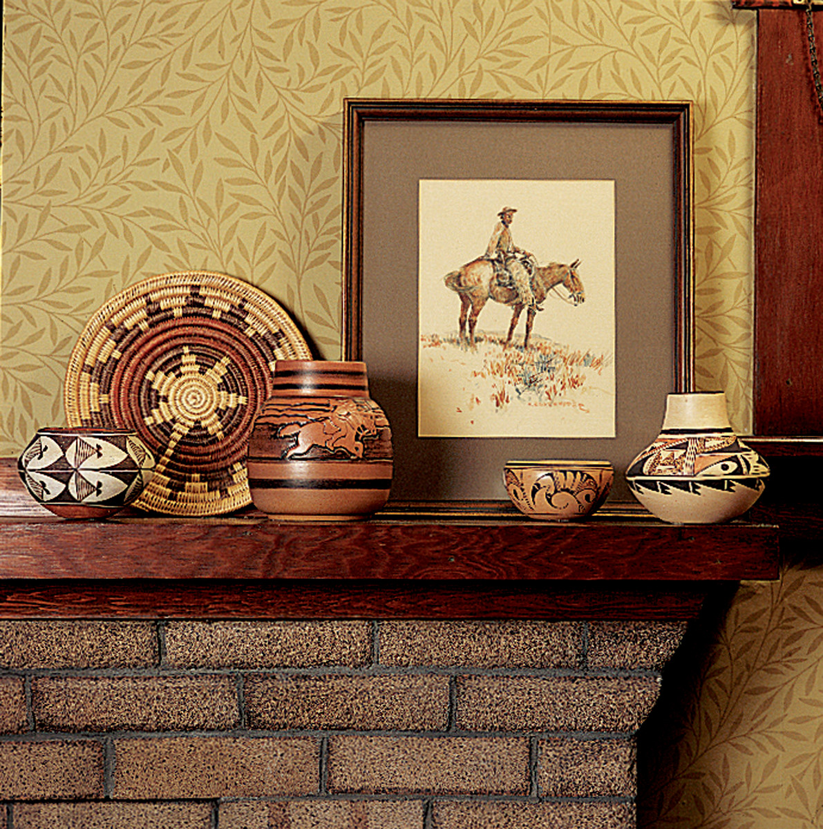brick mantel Arts & Crafts bungalow Native American art