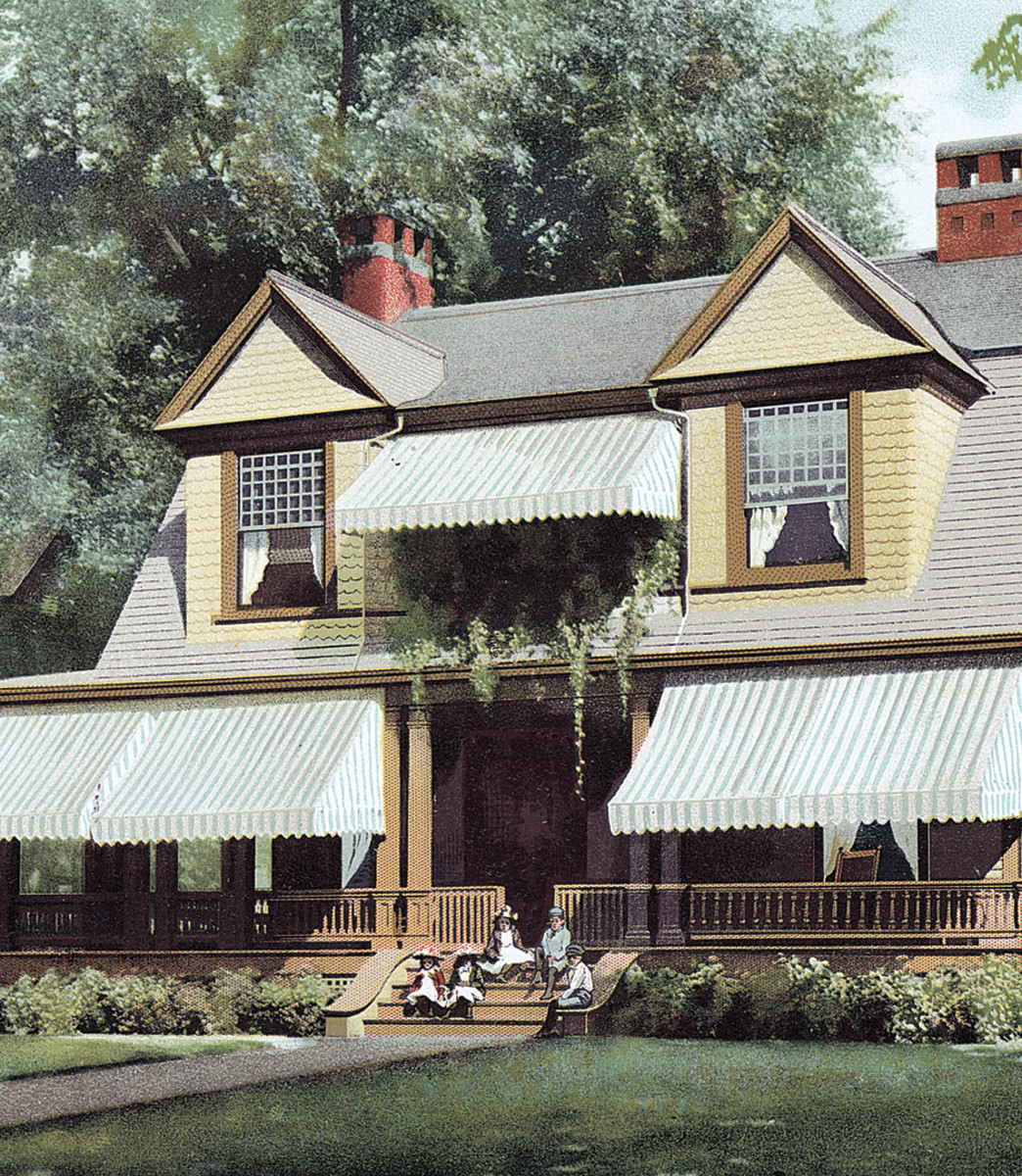 Blue-striped awnings lend summery appeal to a house featured in an 1893 magazine.