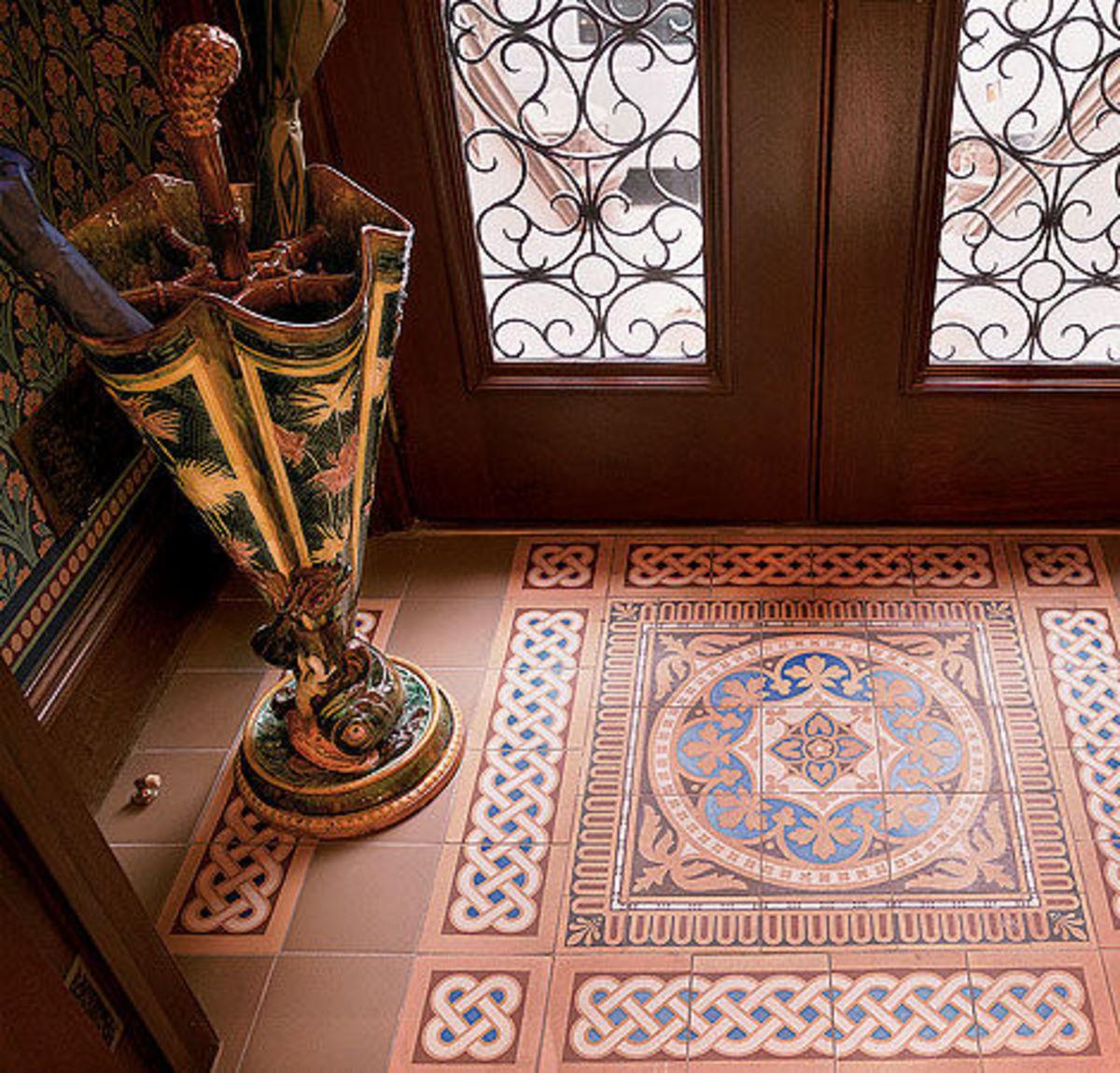 encaustic floor tile Victorian vestibule