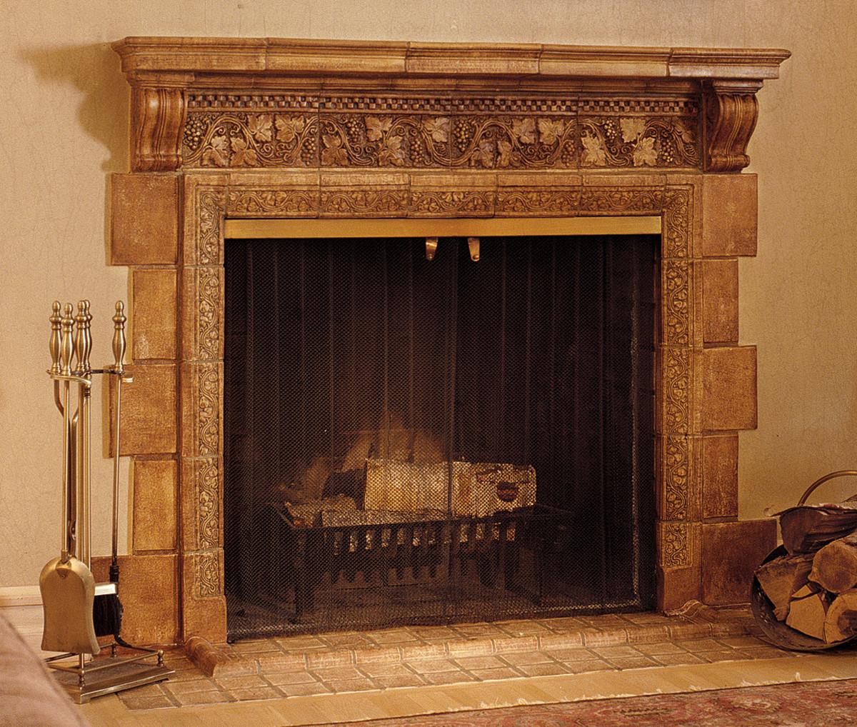 Original Batchelder tile fireplace