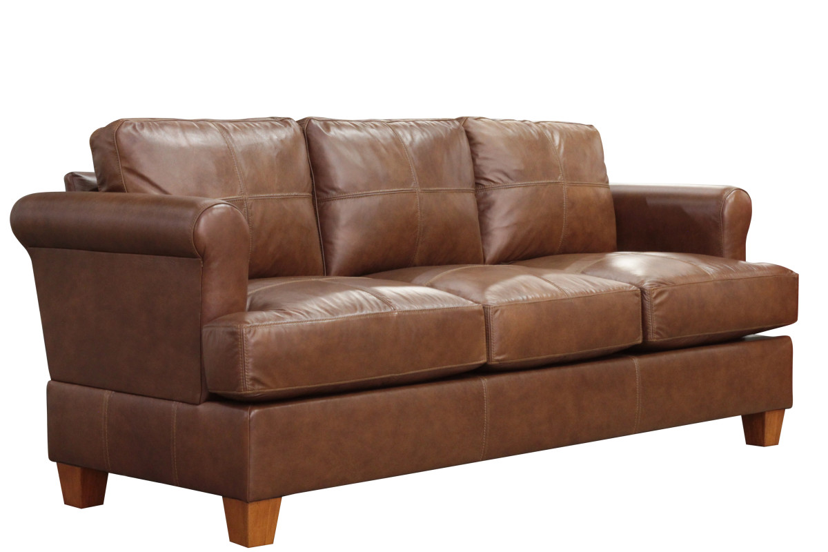 Leather sofa angle view