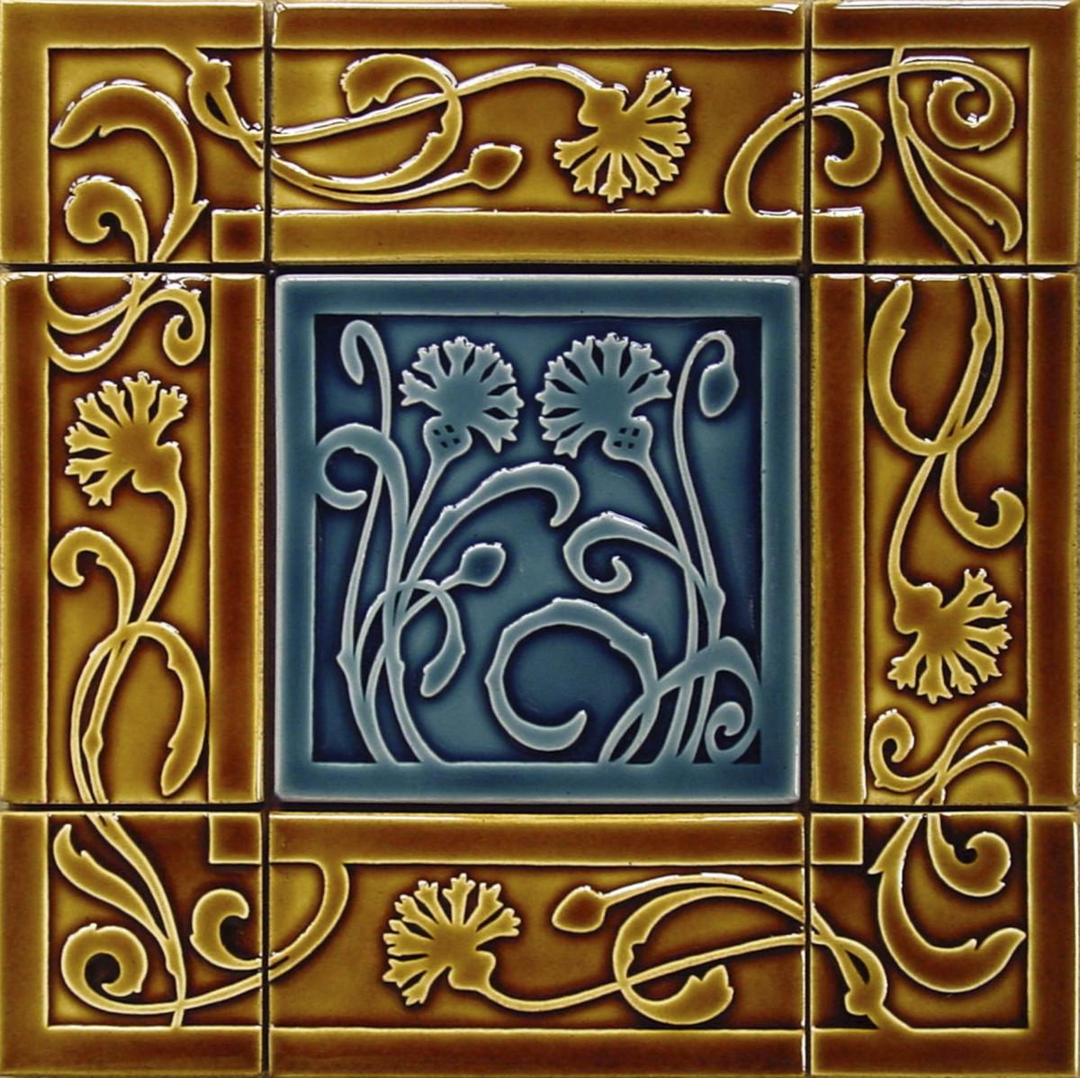 blue brown embossed ceramic Carreaux du Nord tile