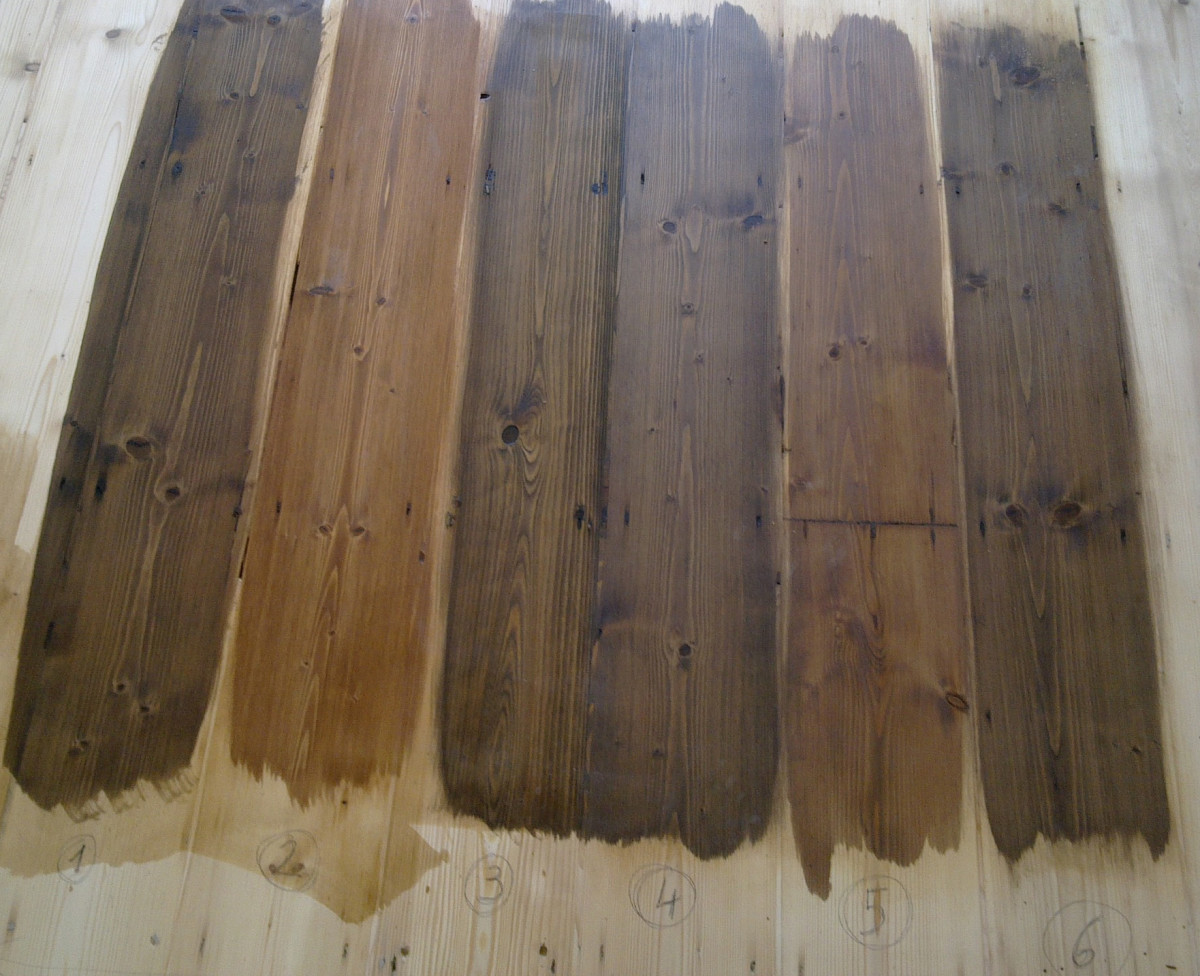 Even subtly different stain colors can be dramatically different when applied to wood flooring.  Photo courtesy theoldflooring.com